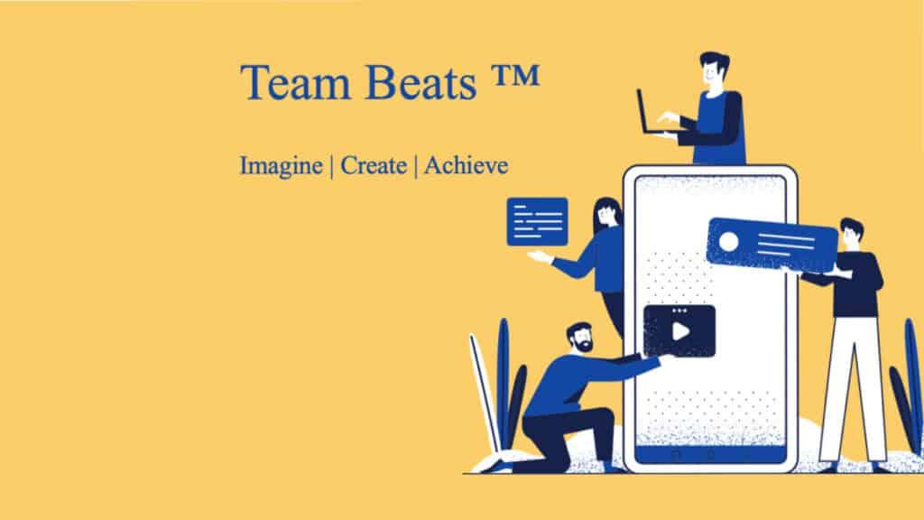 Team Beats Teambuilding gelber Hintergrund mit vier Personen die Beats in ein Smartphone geben